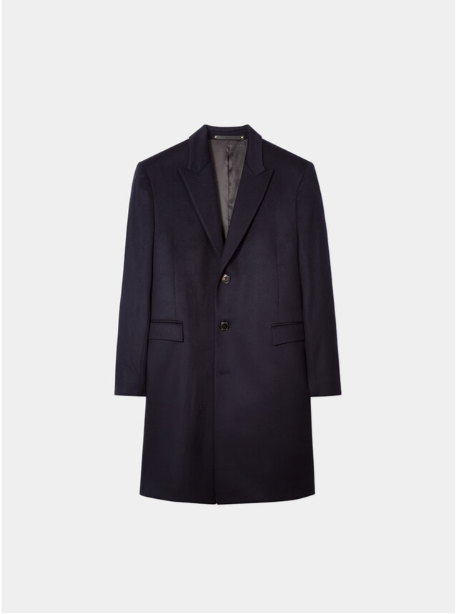 Navy Wool / Cashmere Epsom Coat