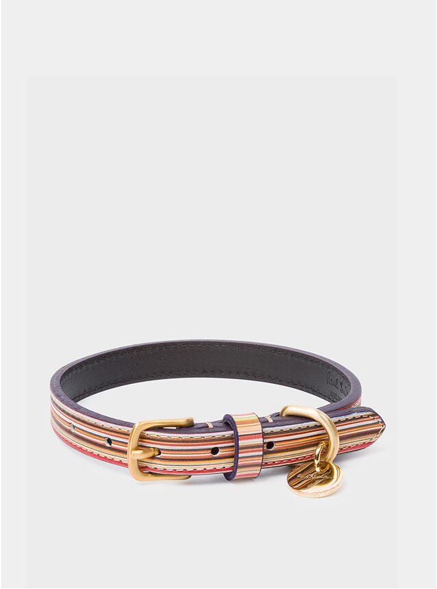 Signature Stripe Calf Leather Dog Collar