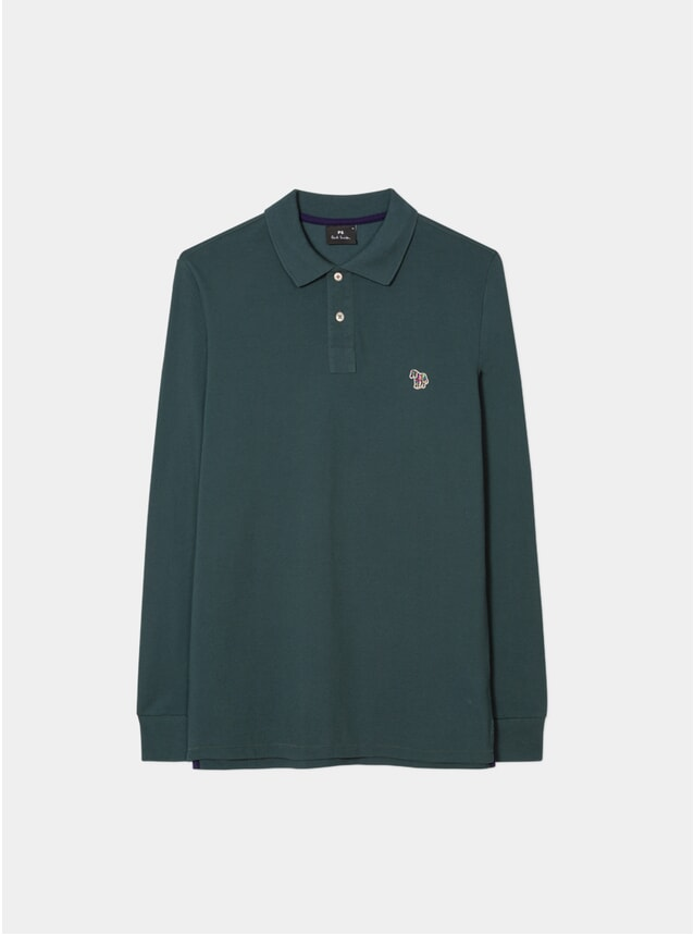Washed Green Organic-Cotton Zebra LS Polo