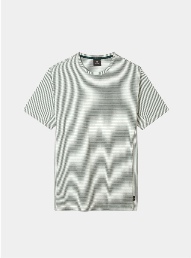 White Two-Tone Stripe T Shirt