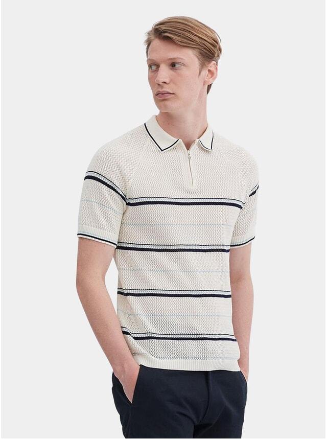 Cream Stripe Nawa Knit Polo