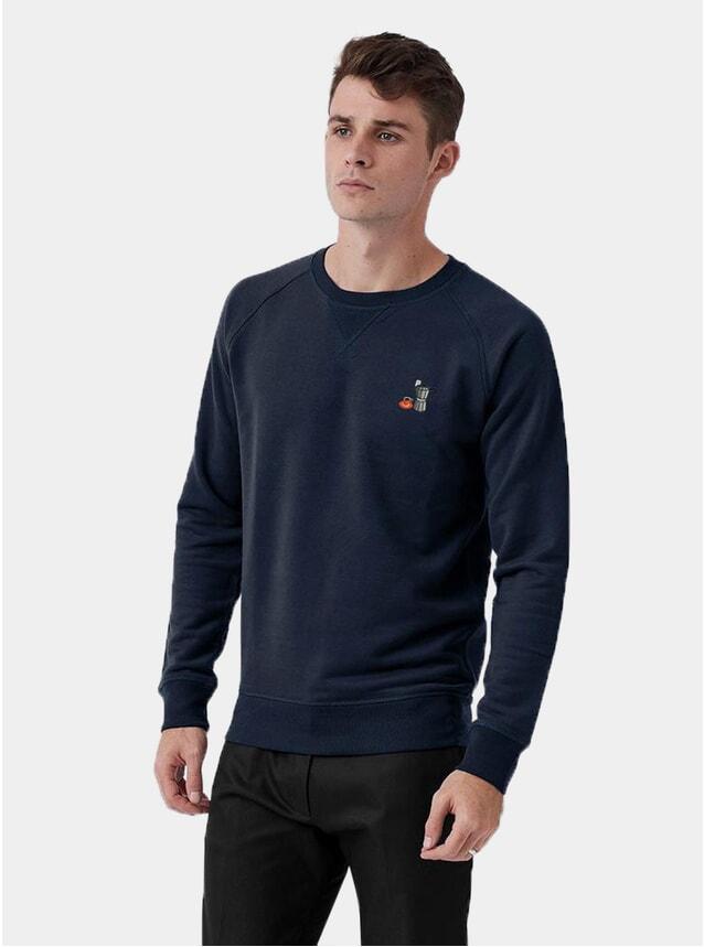 Navy Moka Pot Emboridery Sweatshirt