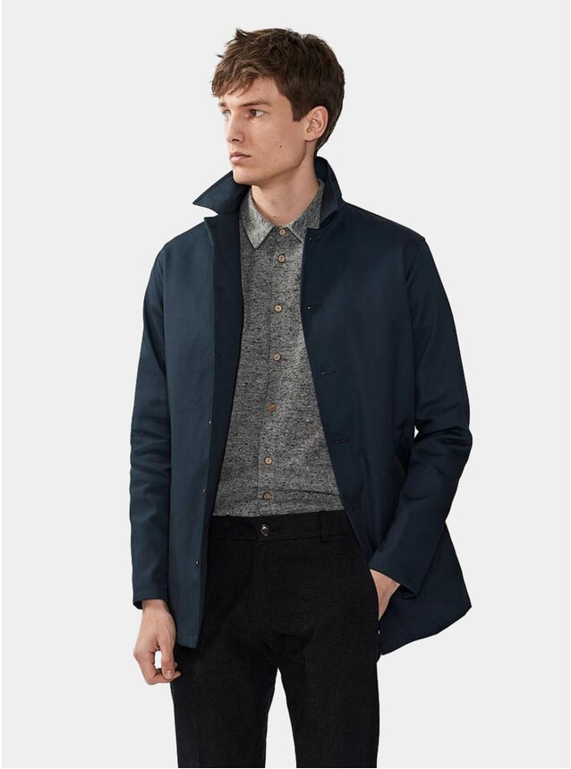 Navy Waxed Cotton Waterproof Sherlock Coat