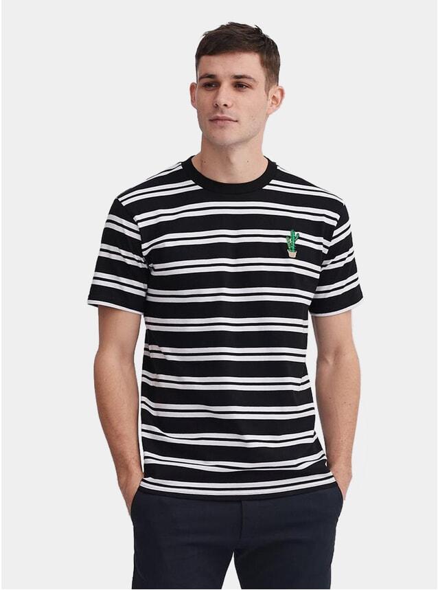 White / Black Cactus Stripe T Shirt