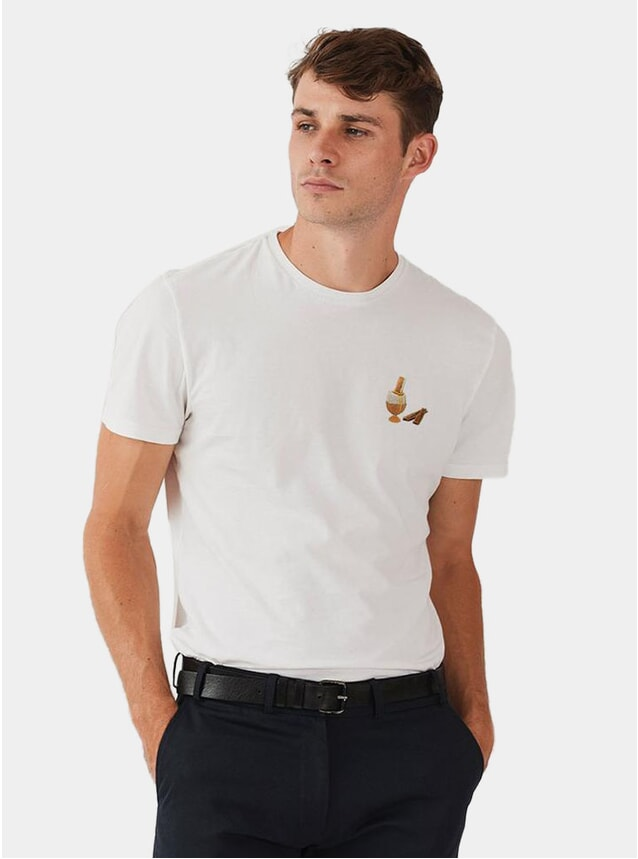 White Egg & Soldier Embroidery T Shirt