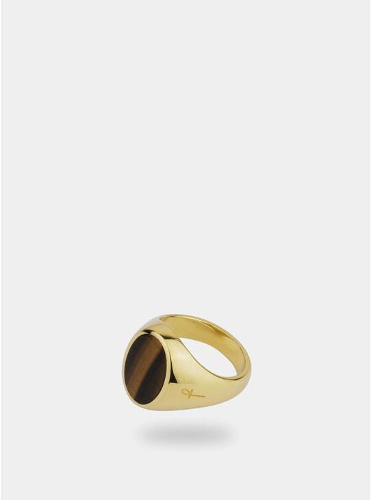 Gold / Oval Tiger Eye Jamestown Ring