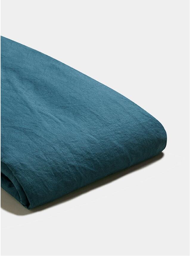Deep Teal Linen Super King Size Duvet Cover