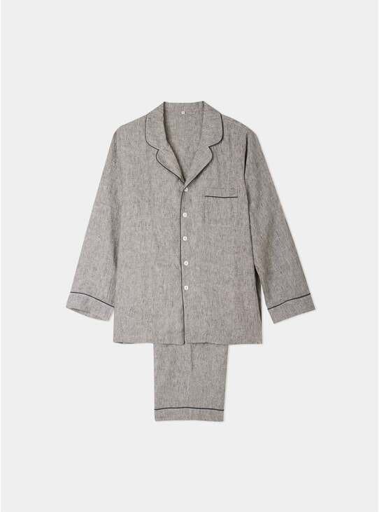 Grey Linen Pyjama Trouser Set