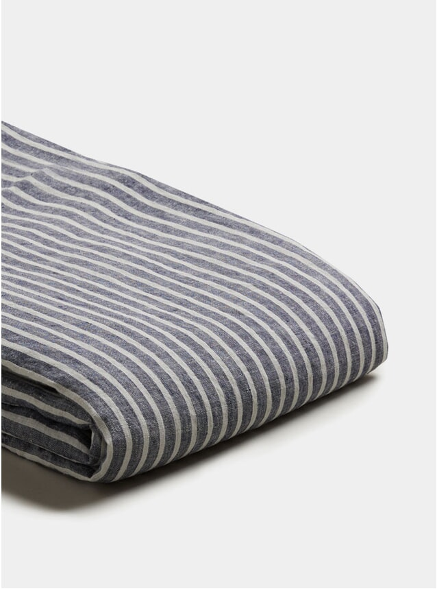 Midnight Stripe Linen Double Duvet Cover