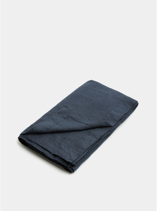 Navy Linen Tablecloth