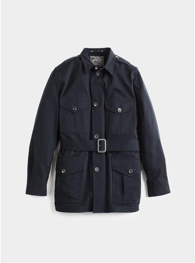 Navy Belted Safari Jacket