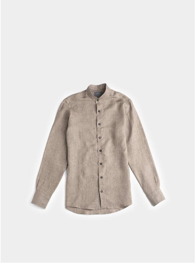 Brown Linen Evan Grandad Collar Shirt