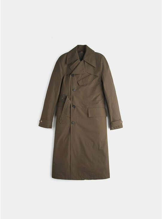 Khaki Ventile Motor Trench Coat
