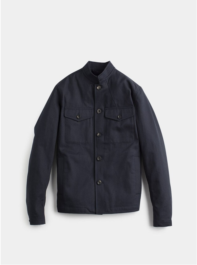 Navy Stand-Collar Tunic Jacket