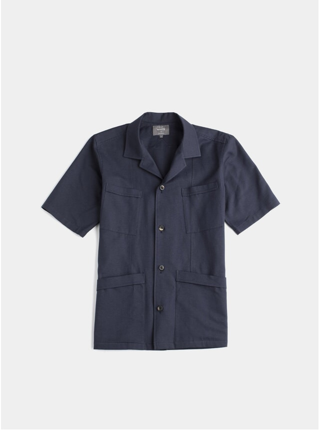 Navy Tropical Weave SS Shirt