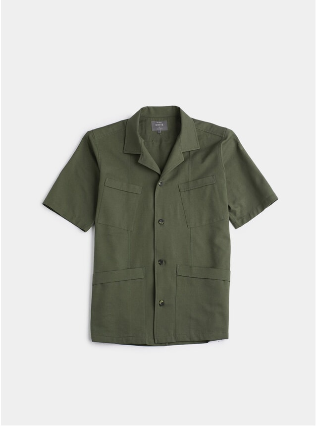 Olive Tropical Weave SS Shirt
