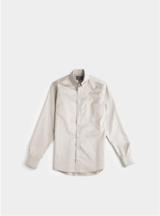 Stone Grey Cotton William Button Down Shirt