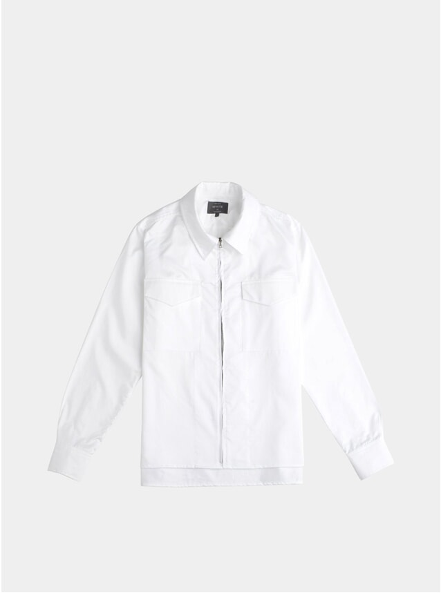 White Zip Through Cabin Shirt