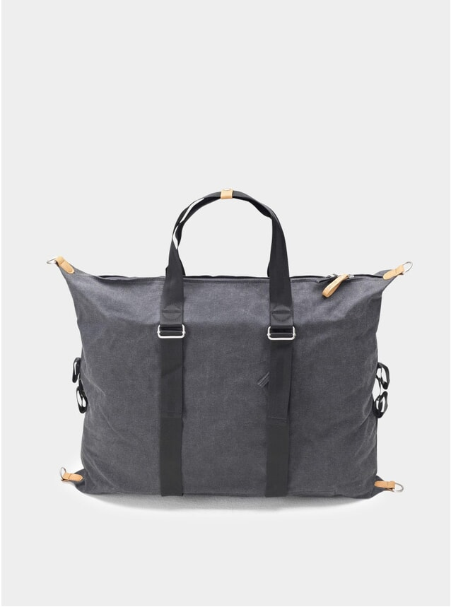 Washed Black Simple Holdall
