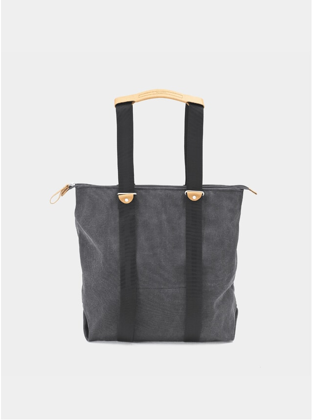 Washed Black Simple Zipshopper