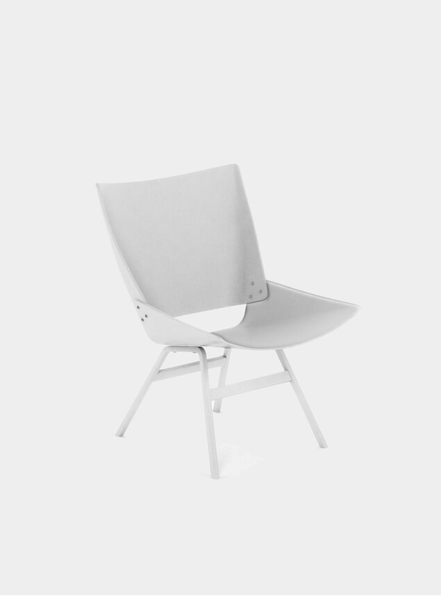 White / Leather Shell Lounge Chair