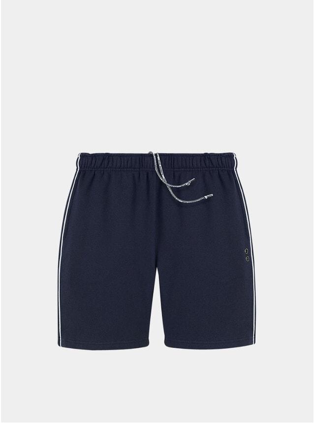Navy Piping Jogging Shorts
