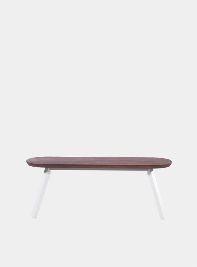 White / Walnut You & Me Bench