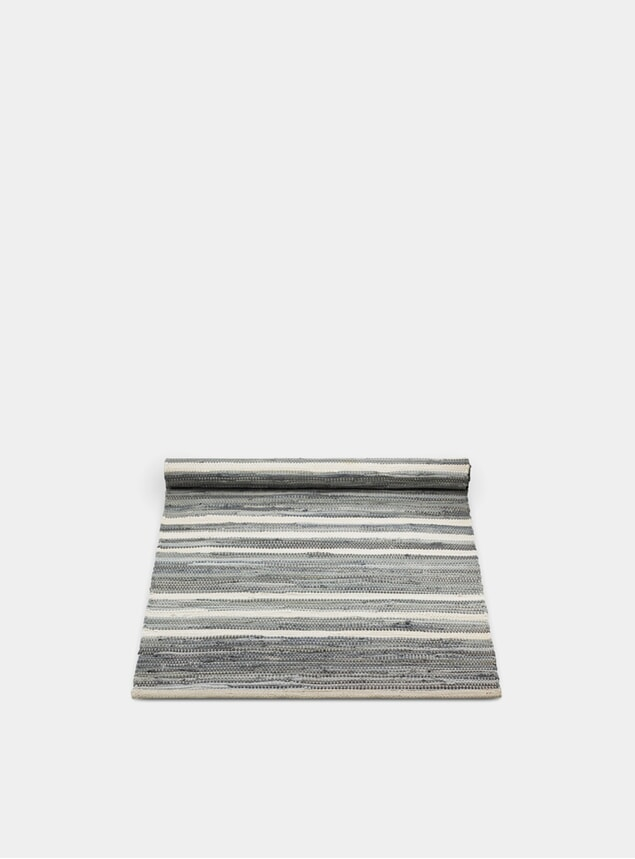 Grey / Off White Striped Cotton Rug