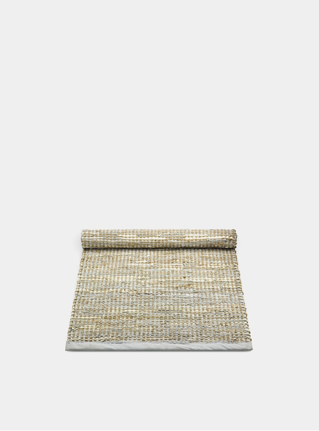 Smooth Grey / Leather Jute Rug