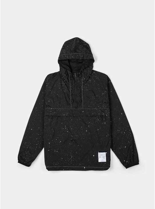 Black Silk Splattered Anorak