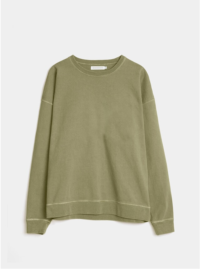 Army Green Oversized Garment Dyed Sweatshirt
