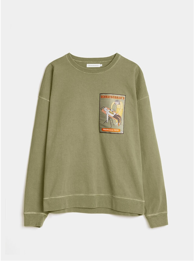 Army Green Patch Garment Dyed Oversized Sweatshirt