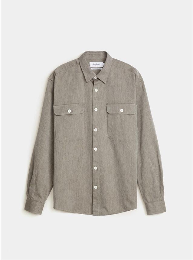 Army Green Solid Boxy Twill Shirt