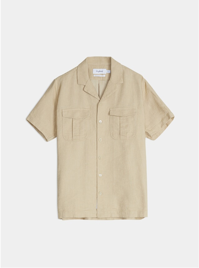 Beige Notch Structured SS Shirt
