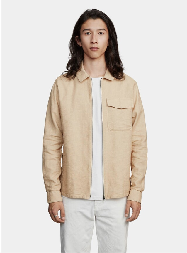 Beige One Structured Zipshirt
