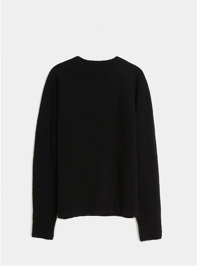 Black Cashmere Wool Crew Neck