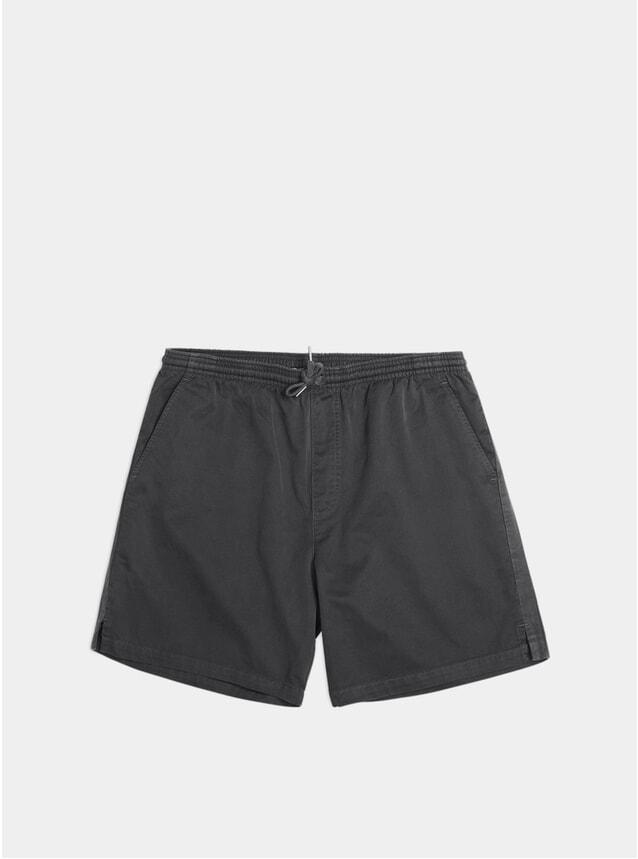 Black Garment Dyed Twill Shorts