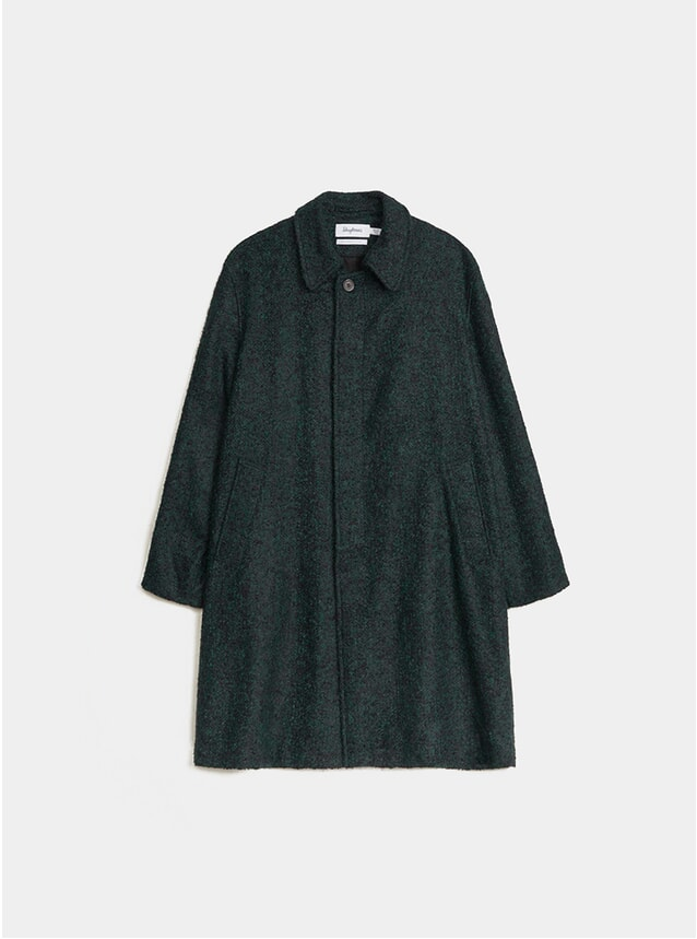 Black / Green Coat Oversized Bouclé Melange Coat