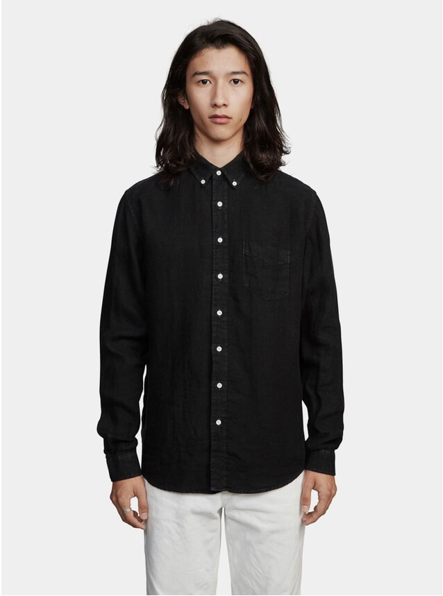 Black Linen Twill Shirt