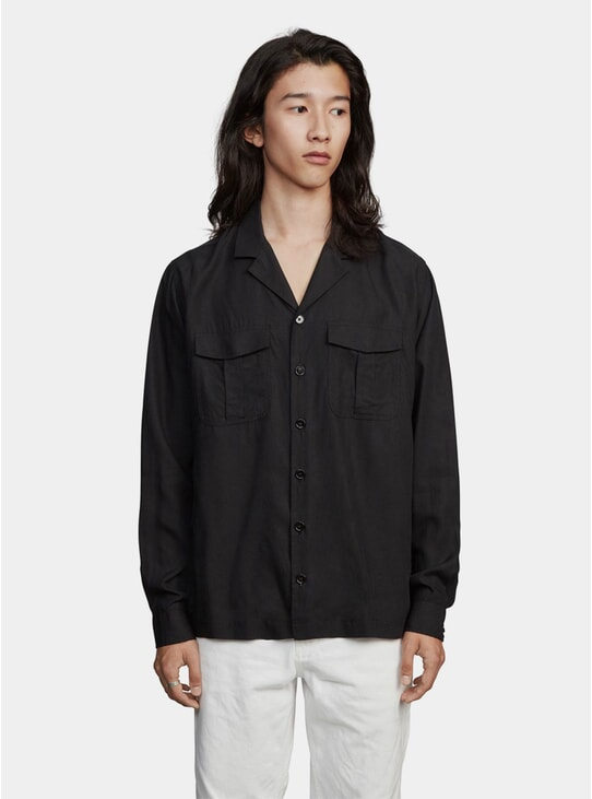 Black Notch Tencel Shirt