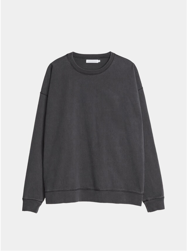 Black Oversized Garment Dyed Sweatshirt