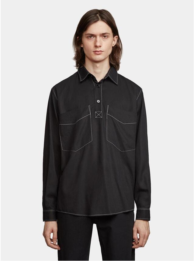 Black Popover Tencel Solid Boxy Shirt