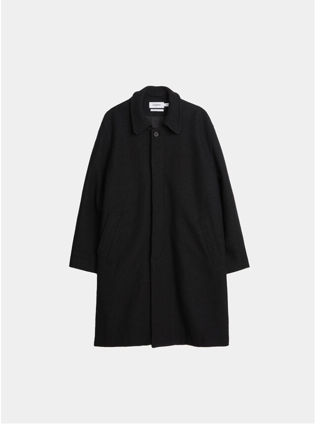 Black Structured Wool Oversized Coat