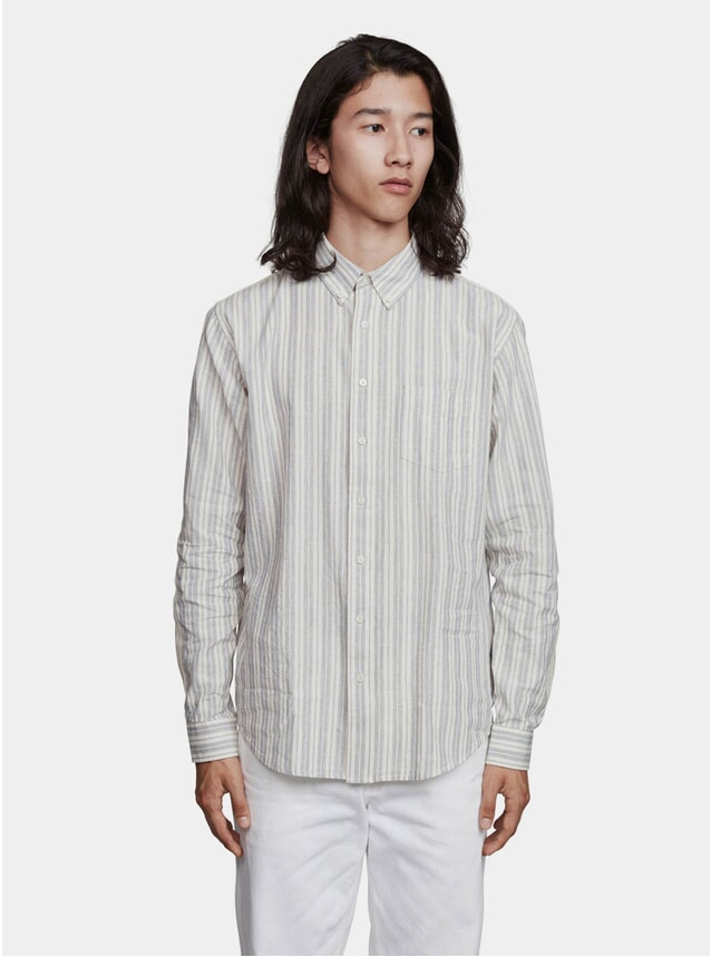 Blue / Off White Hemp Stripe Shirt