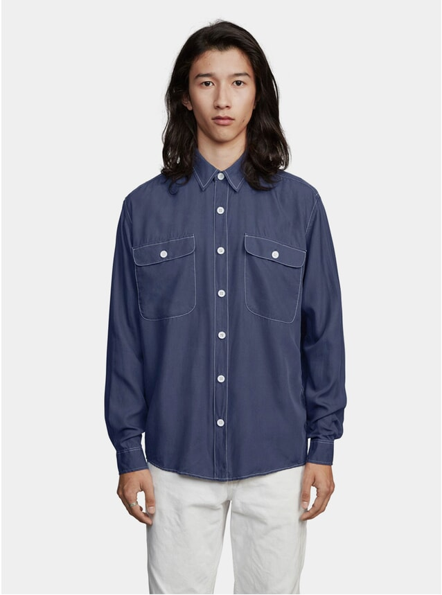 Blue Tencel Boxy One Shirt