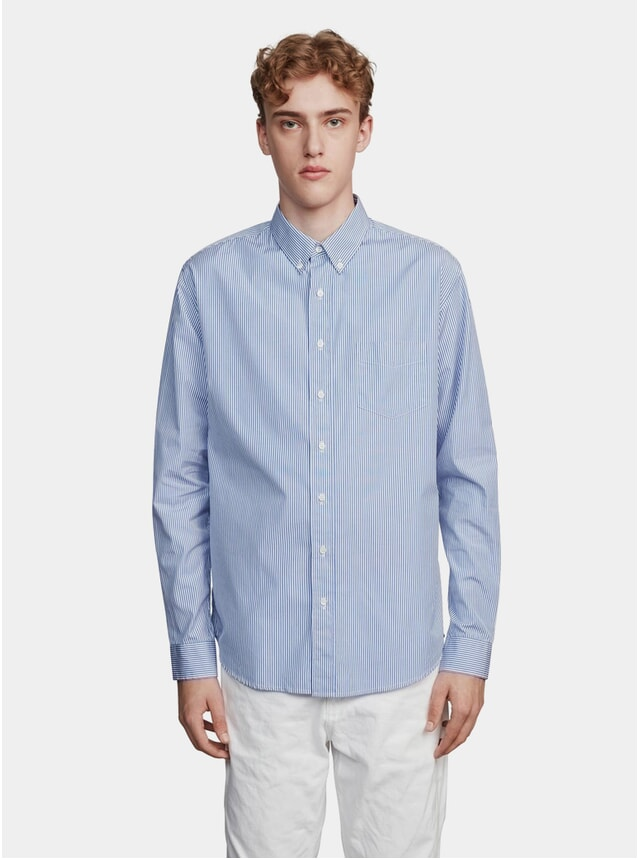 Blue / White Regular Stripe Poplin Shirt