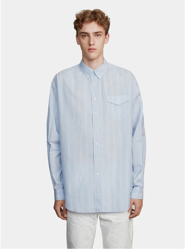 Blue / White Silk Stripe Oversized Shirt