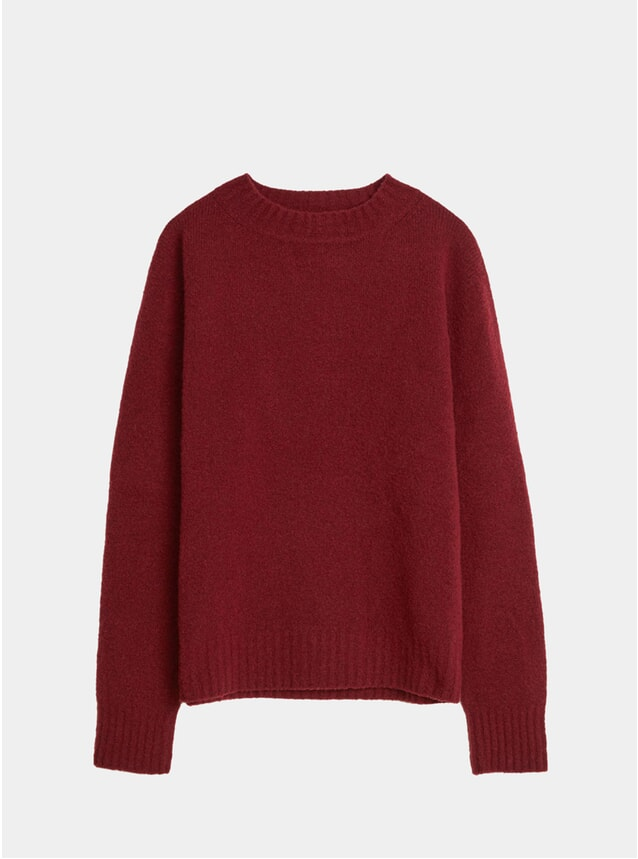 Burgundy Cashmere Wool Crew Neck