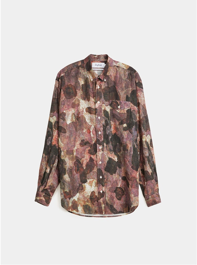 Camo Burgundy / Black Oversized Print Shirt