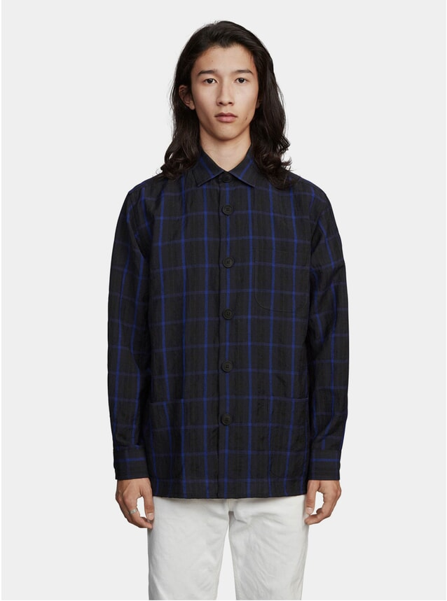 Dark Blue Window Pane Overshirt
